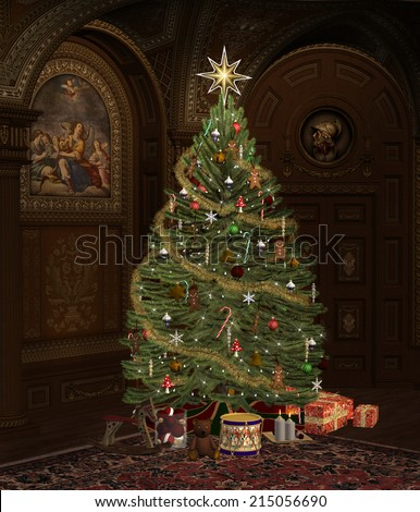 fully decorated christmas tree in an old room - Fully Decorated Christmas Tree