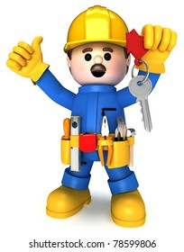 Fully equipped craftsman mascot