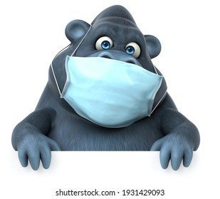 Fun 3D cartoon gorilla with a mask