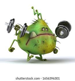 Fun 3D illustration of a cartoon germ