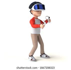 Fun 3D illustration of a cartoon kid with a VR helmet