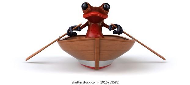 Fun 3D illustration of a fun frog