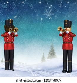 Fun 3D illustration of two toy soldiers in red uniform playing trumpets.Teddy bear soldier and wooden soldier standing in snow announcing christmas against colorful winter background.