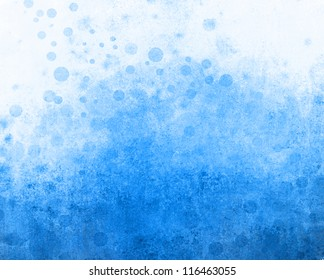 fun abstract blue background on white paper of circle bubbles in distressed vintage grunge background texture design, old faded sky blue color, faint whimsical grungy round shapes or polka dot spots