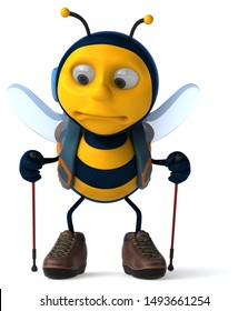 Fun backpacker bee - 3D Illustration