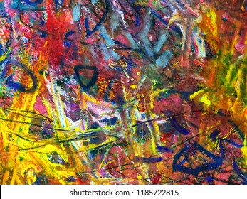 fun beautiful composition artwork design of colorful abstract art expression with fun brush stroke and point watercolor ink painting and pen line draw on white canvas paper texture surface background