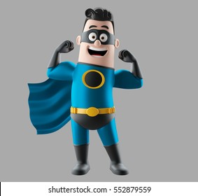 Fun blue superhero 3d render man