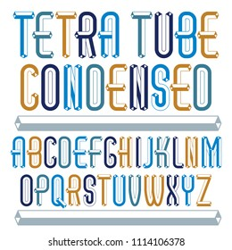 fun capital English alphabet letters collection. Retro condensed font, script from a to z can be used in art  poster art. Made with industrial 3d tetra tube design.