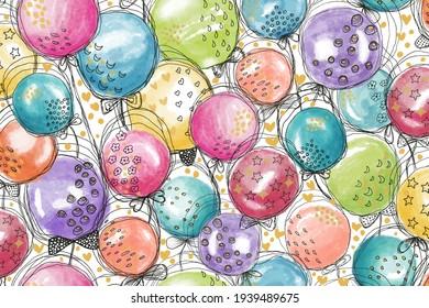 Fun celebratory multicolored watercolor balloons