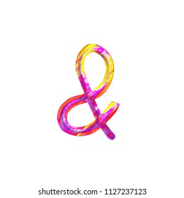 Fun colorful pink & yellow metallic ampersand or and sign symbol in a 3D illustration with a pretty painted color effect and rough texture with a handwritten font on white with clipping path