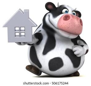 Fun cow - 3D Illustration - Shutterstock ID 506175244