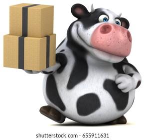 Fun cow - 3D Illustration - Shutterstock ID 655911631