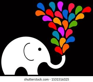 Fun elephant having a colorful splash