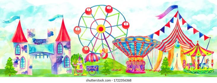 Fun fair panorama. Amusement park banner. Circus, carnival theme. Ferris wheel, fair ride, carousels, attraction, clowns and other. Cute colorful hand drawn watercolor illustration