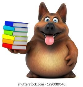 Fun german shepherd dog - 3D Illustration