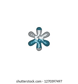 Fun light blue color striped glass asterisk or star shape symbol in a 3D illustration with a shiny glass beach style blue & white stripes effect in a classic font on white with clipping path