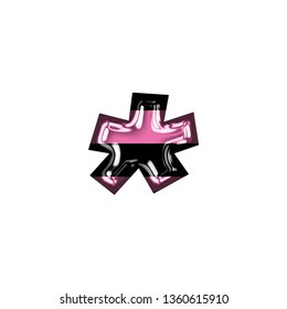 Fun pink color striped glass asterisk or star shape symbol in a 3D illustration with a shiny glass effect with pink & black stripes in a basic bold font on white with clipping path