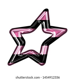 Fun pink color striped glass sheared rounded star shape design element in a 3D illustration with a shiny glass effect with pink & black stripes isolated on white with clipping path