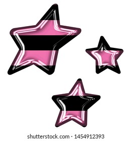 Fun pink color striped glass sheared rounded star shapes set design elements in a 3D illustration with a shiny glass effect with pink & black stripes isolated on white with clipping path