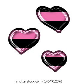 Fun pink color striped glass sheared rounded hearts set shapes design elements in a 3D illustration with a shiny glass effect with pink & black stripes isolated on white with clipping path