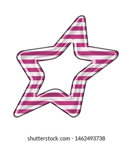 Fun pink striped sheared rounded star shape design element in a 3D illustration with cute pink & white stripes in a shiny metallic style isolated on a white background