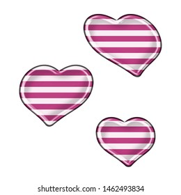 Fun pink striped sheared rounded hearts set shapes design elements in a 3D illustration with cute pink & white stripes in a shiny metallic style isolated on a white background