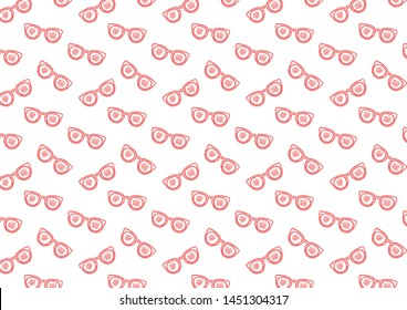Fun seamless pattern line art pattern with sunglasses in red and pink