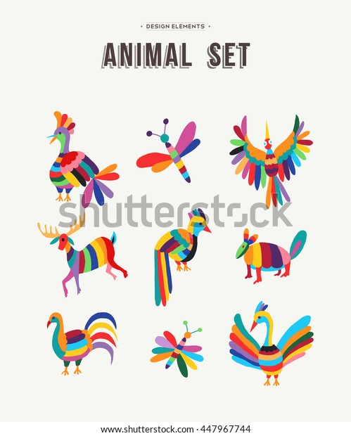 Fun set of animals in colorful kid friendly design ideal for decoration or icons, birds, insects, deer and more.