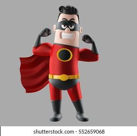 Fun superhero 3d render man