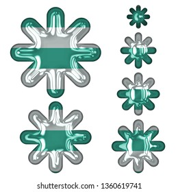 Fun teal color striped glass set of asterisk or starburst shapes design elements in a 3D illustration with a shiny glass beach style teal & white stripes effect on white with clipping path