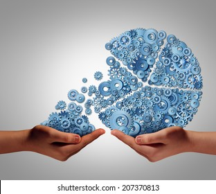 Funding and development concept as a human hand giving or taking investment from a business pie chart made of gears and cogs as a financial backing symbol of investing support or charity donation.