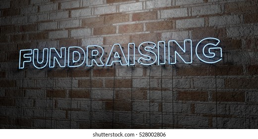 FUNDRAISING - Glowing Neon Sign on stonework wall - 3D rendered royalty free stock illustration.  Can be used for online banner ads and direct mailers.