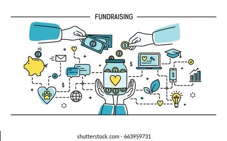 Fundraising. Line art flat illustration. Colorful.