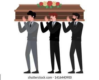 The funeral ceremony, men carry the coffin. In minimalist style Cartoon flat raster Illustration, isolated on white background