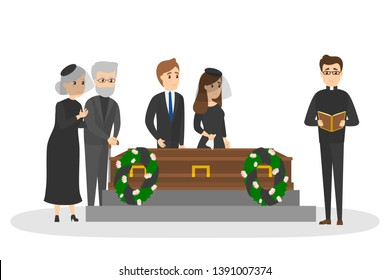 Funeral ceremony on the cemetery. Group of sad people in black clothes standing with flowers and wreaths around coffin. Isolated  flat illustration