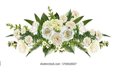 Funeral floral arrangement, white flowers wreath, hand drawn watercolor illustration