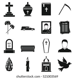 Funeral icons set. Simple illustration of 16 funeral  icons for web