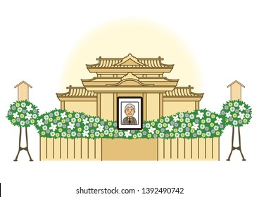 funeral portrait of deceased person illustration