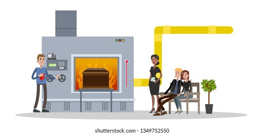 Funeral service in crematory. People in black clothes crying at the burial ceremony.  flat illustration