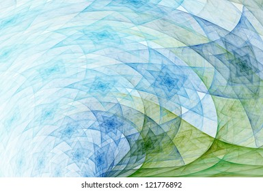 Funky blue / green abstract swirling stars on white background