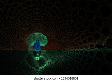 Funky blue, green, orange and brown abstract mushroom (3D illustration, black background)