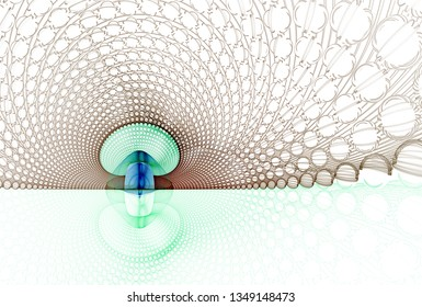 Funky blue, green, orange and brown abstract mushroom (3D illustration, white background)