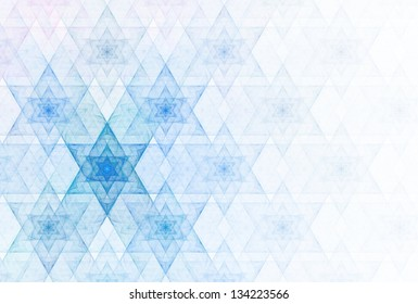 "Funky blue and pink abstract connect ""Star of David"" design on white background"