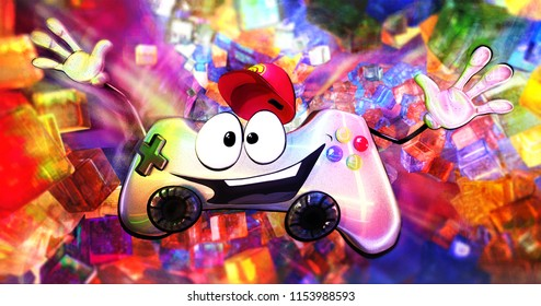 Funky cartoon style funny smiling cute gamepad character on a bright colorful background