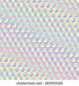 Funky Colorful Trippy Pastel Rainbow Gradient Hexagon Cube Abstract Background