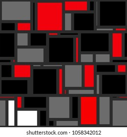 A funky red, black and grey mondrian polygon background.