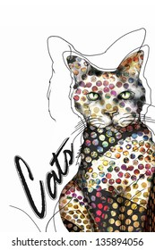 Funky Spotted Art Cat Illustration