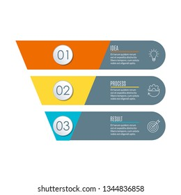Funnel with 3 steps. Business infographic template with cone or pipeline. Marketing and sales concept.