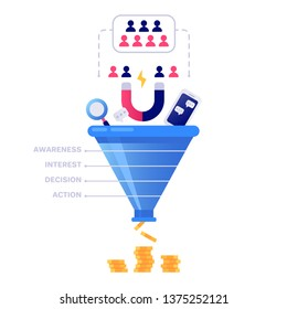 Funnel sales concept. Marketing infographic, sale conversion and lead sales pipeline or business manager conversion pipe. Strategy target chart isolated  illustration