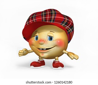 Funny 3 D character in red checkered cap with visor. Isolated on white. 3 d illustration.